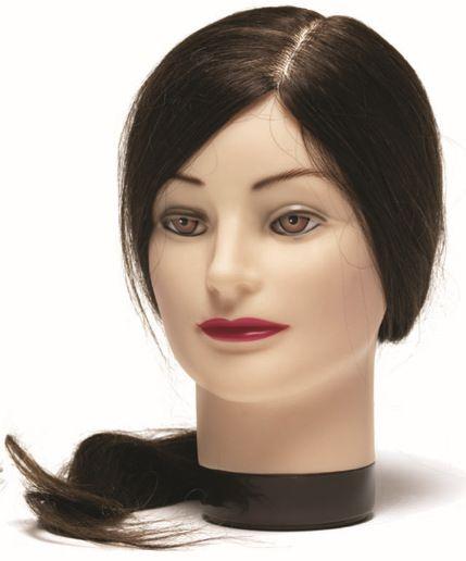 Cvičná hlava ESTELLE 7000829, 50 cm ľudské hnedé vlasy
