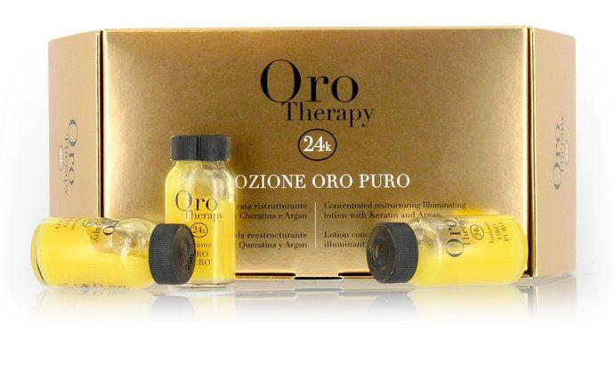 Fanola Oro Puro ampule - regeneračné ampulky na suché a poškodené vlasy,  12x10ml