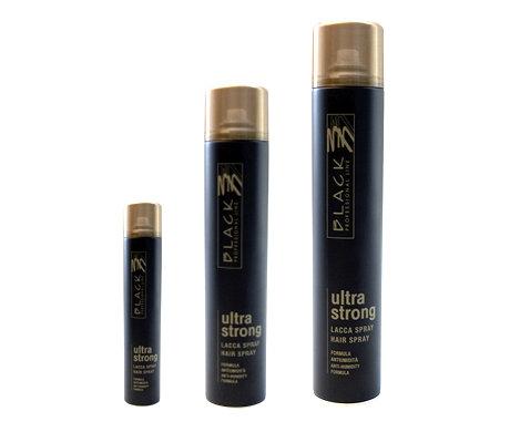 Black professional ULTRA strong Hair spray - lak na vlasy s ultra silným tužením