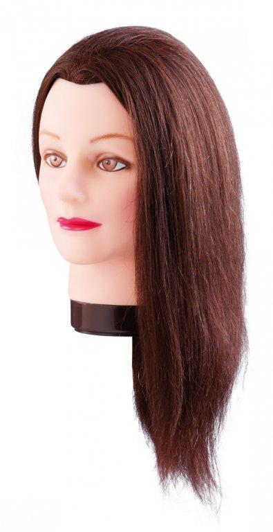 Cvičná hlava ESTELLE,  100% lidské vlasy, hnědý odstín