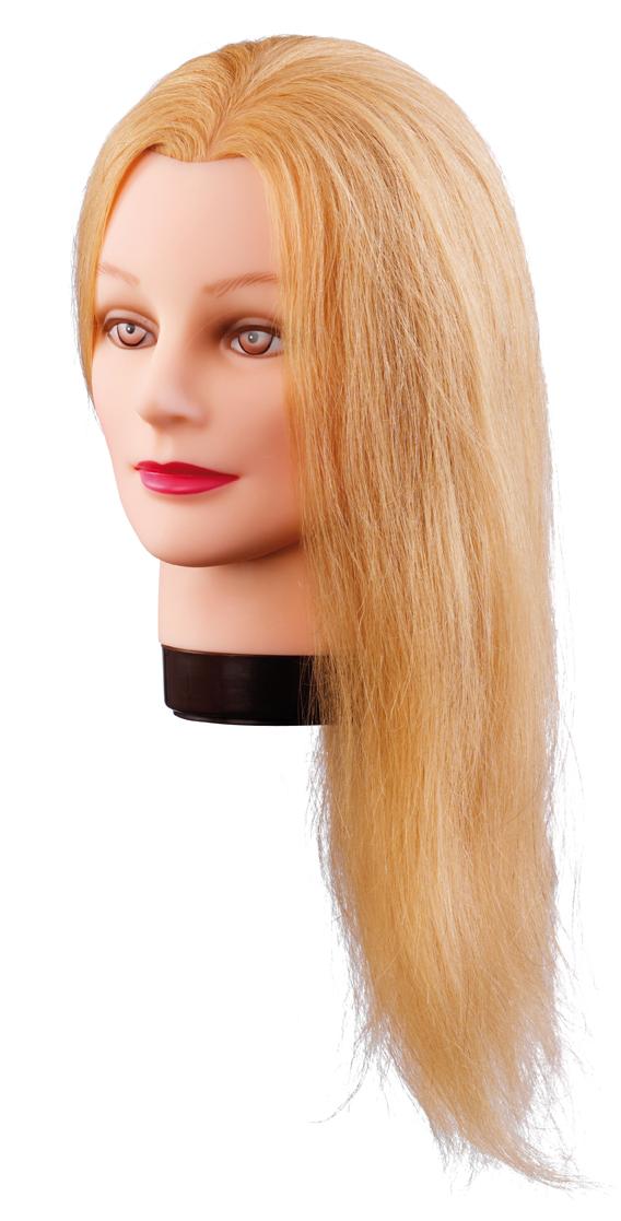 Cvičná hlava LILLY, 100% ľudské vlasy, 40 cm, blond, 7000833