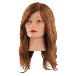 Cvičná hlava NATUREL 7000827, 100% prírodné, hnedé ľudské vlasy s ofinou