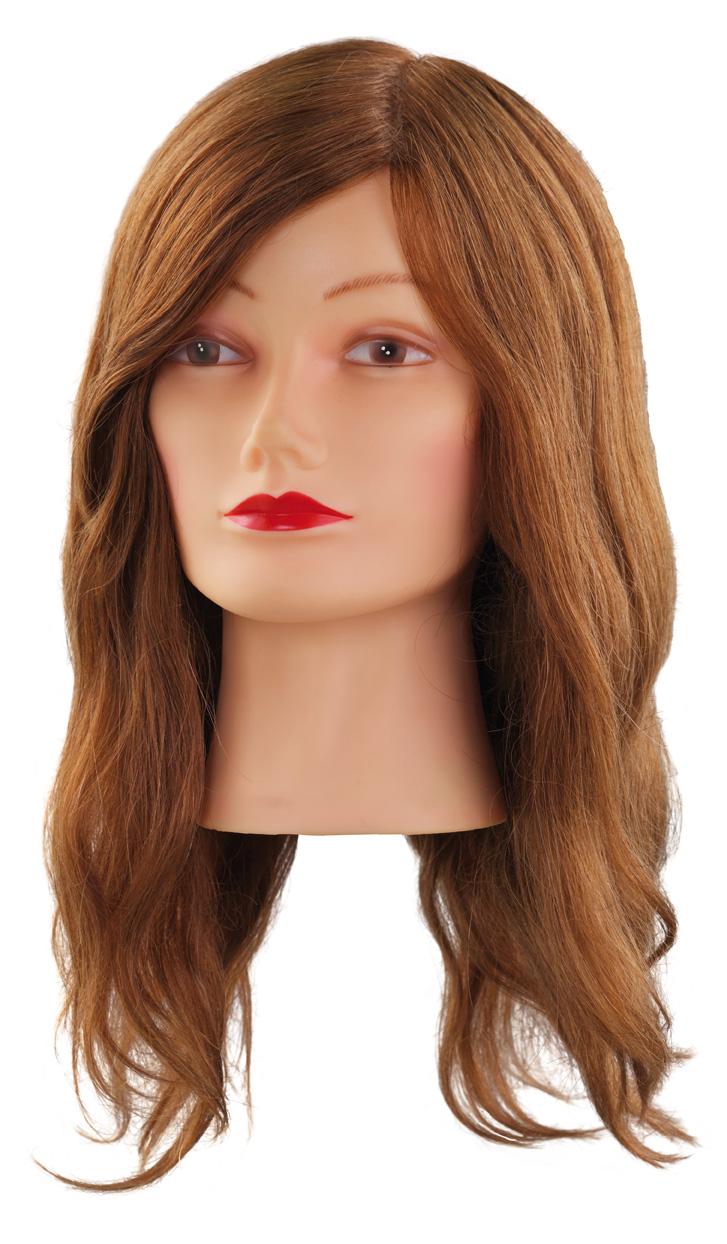 Cvičná hlava NATUREL 7000827, 100% přírodní, hnědé lidské vlasy s ofinou