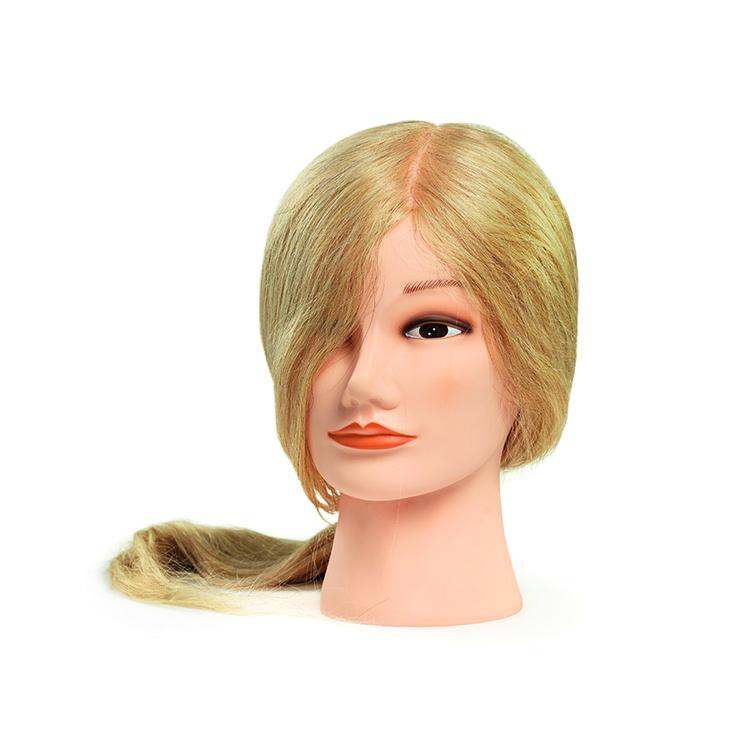 BraveHead 9867 Female Long Blonde - cvičná hlava, 100% ľudské vlasy, 45 - 50 cm
