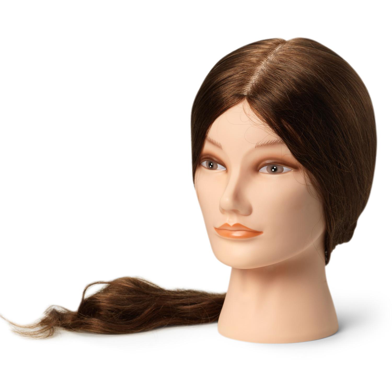 BraveHead Female XL 9863 - cvičná hlava, 100% ľudské vlasy, 55 - 60 cm