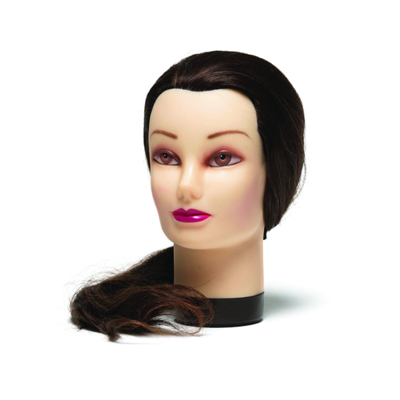 BraveHead PREMIUM Female XL 9883 - cvičná hlava v prémiové kvalitě, 100% lidské vlasy, hnědá, 55-60 cm