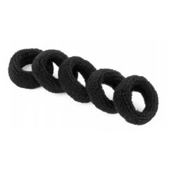 Froté gumička do vlasů, 10 ks tlustší černá