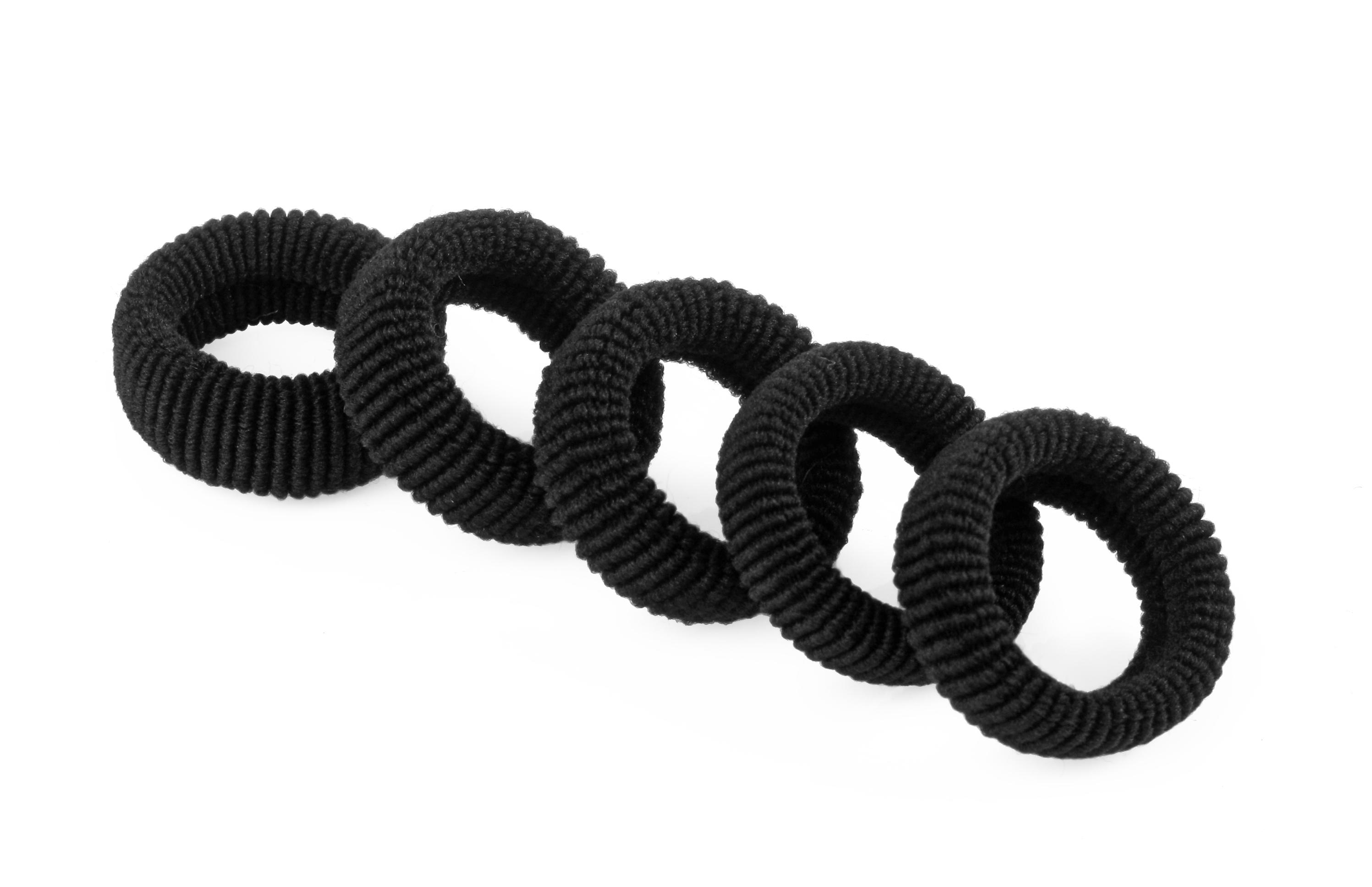 Froté gumička do vlasov, 10 ks čierna