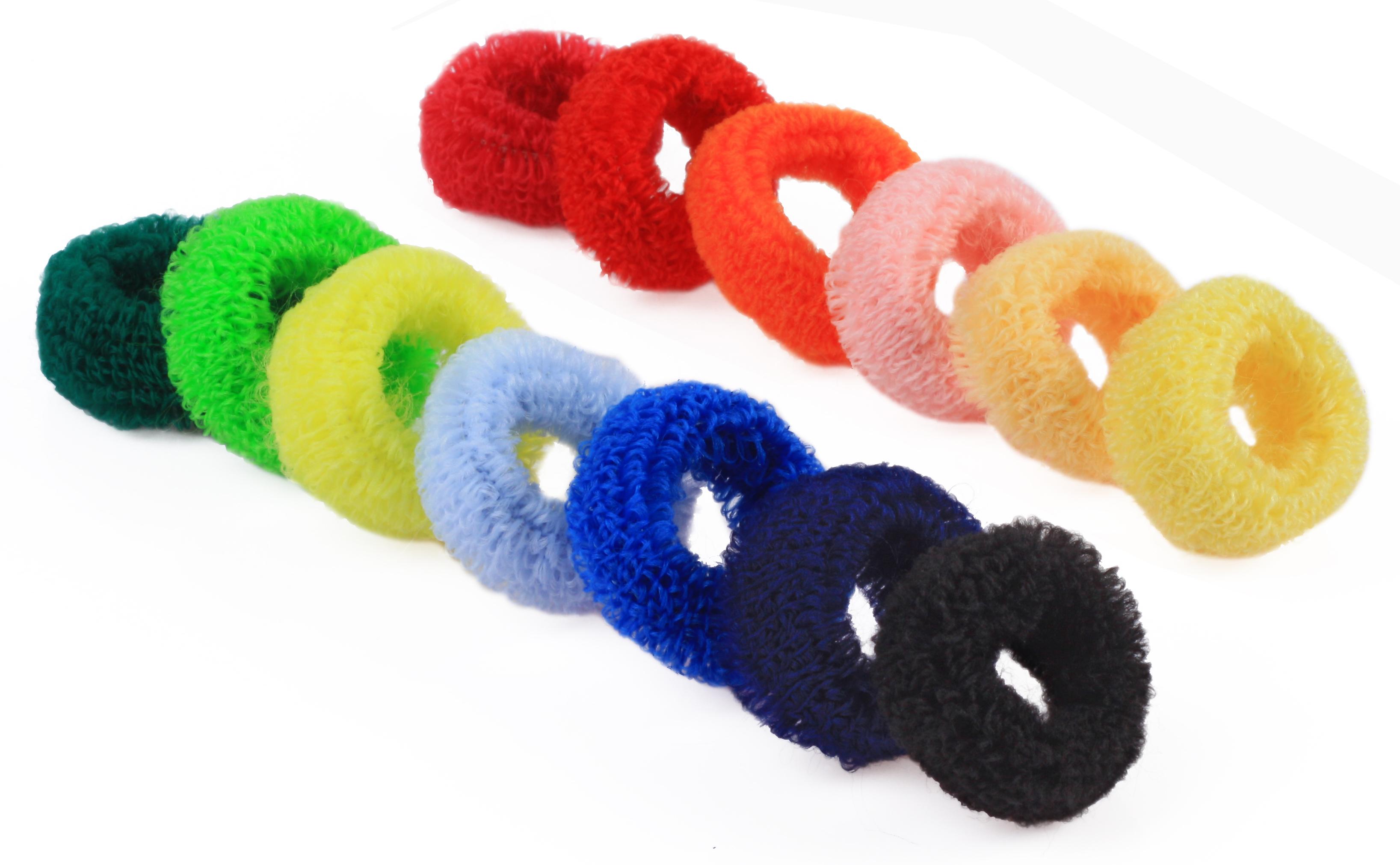 Froté gumička do vlasov, 10 ks hrubšia mix farieb