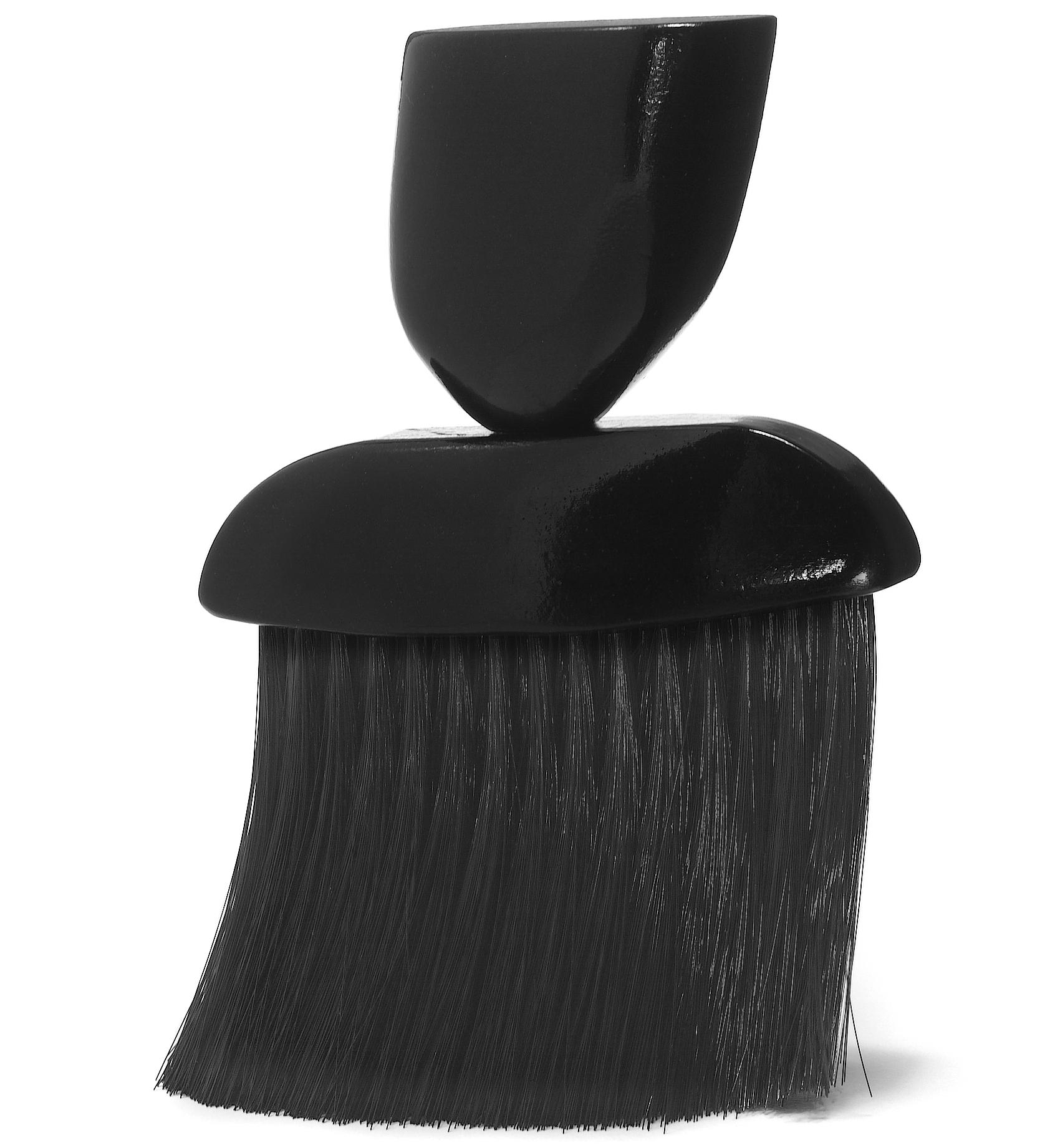 Oprašovák na vlasy drevený s umelými štetinami, čierny 7847