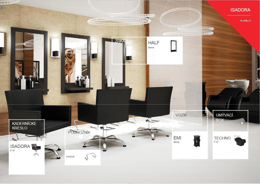 AYALA kadernícka zostava Isadora 1 - 1x umývací box, 1x kadernícke kreslo, 1x vozík, 1x zrkadlo, 1x podnožník