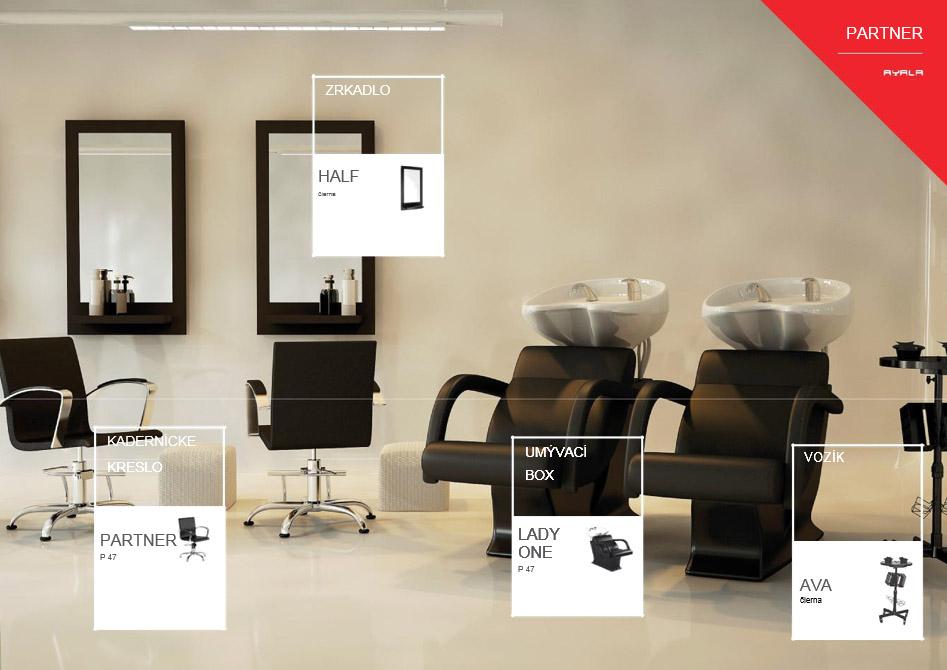 AYALA kadernícka zostava Partner 1 - 1x umývací box, 1x kadernícke kreslo, 1x vozík, 1x zrkadlo, 1x podnožník