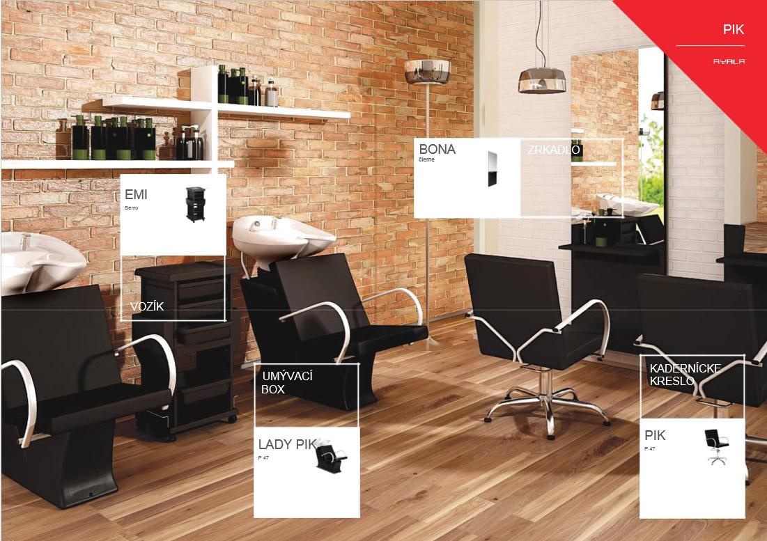 AYALA kadernícka zostava Pik 1 - 1x umývací box, 1x kadernícke kreslo, 1x vozík, 1x zrkadlo