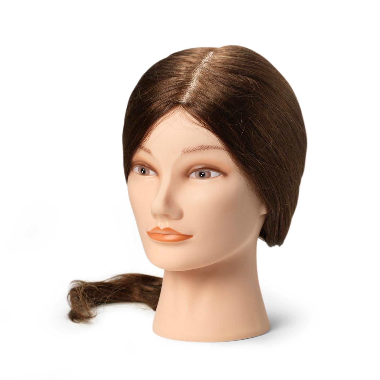 BraveHead 9861 Female Long Dark Brown - cvičná hlava, 100% ľudské vlasy, 45 - 50 cm