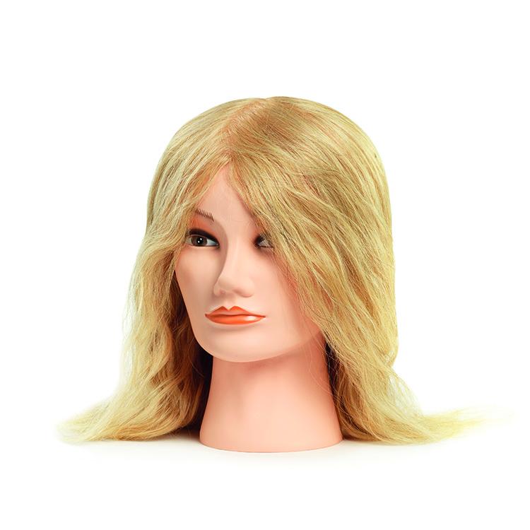 BraveHead 9866 Female Medium Blonde - cvičná hlava, 100% ľudské vlasy, 35 - 40 cm