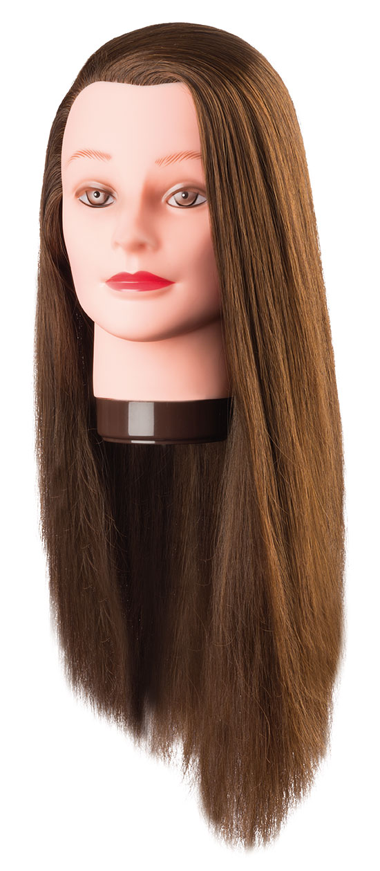 Cvičná hlava PIA 7001170, 100% proteínové vlasy, svetlá hnedá 60cm
