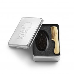 Barber kit comb Brush - profesionální sada hřeben a kartáč na bradu v plechové krabičce-1940