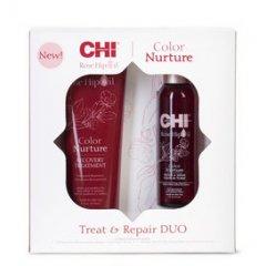 CHI Rose Hip oil Repare Treat DUO - maska na farbené vlasy, 237 ml + neoplachujúce tonikum, 118 ml