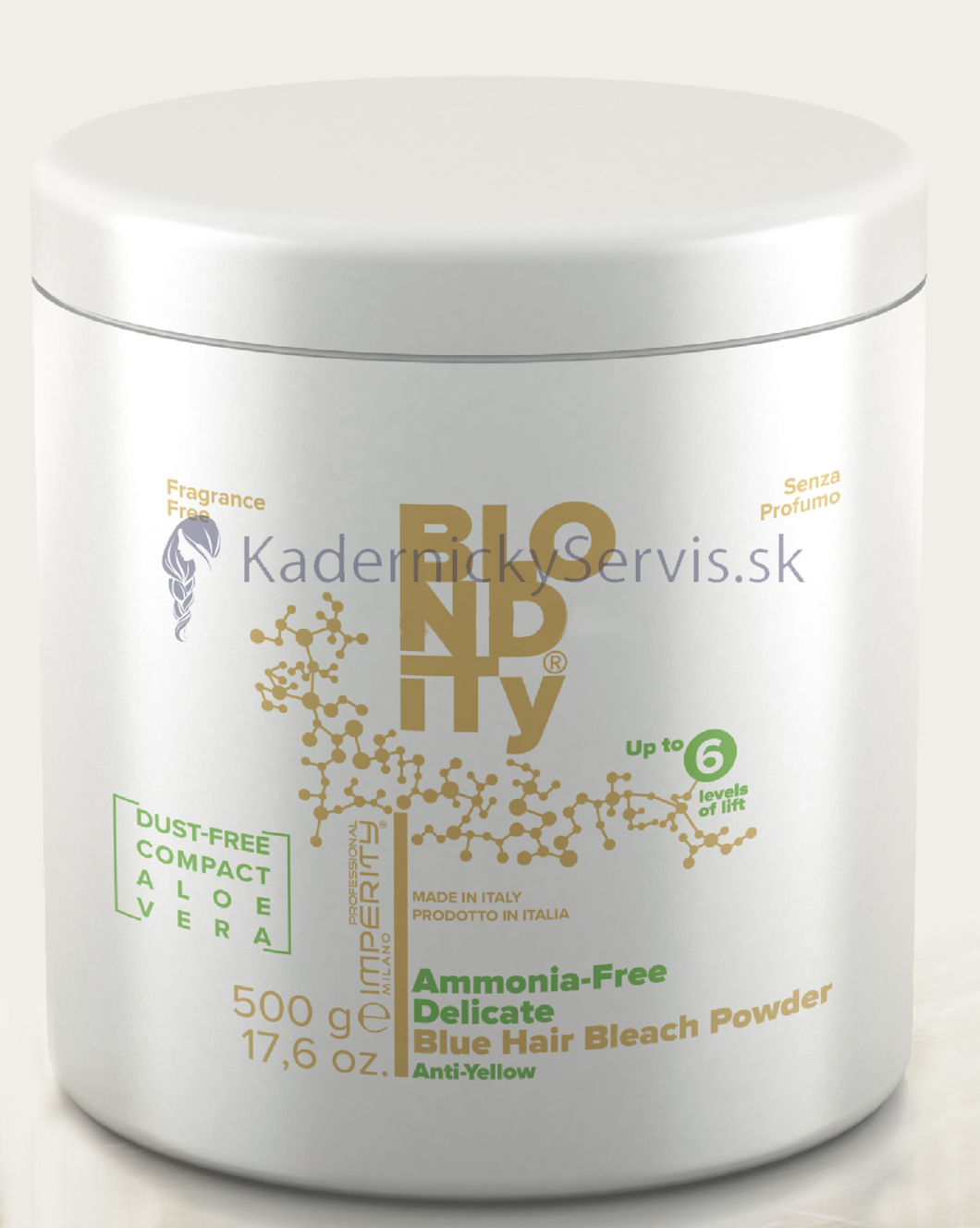 ​Imperity Blondity Ammonia Fre Blue Hair Bleach Powder Aloe Vera - modrý bez amoniakový melírovací prášok s aloe vera, 500 g