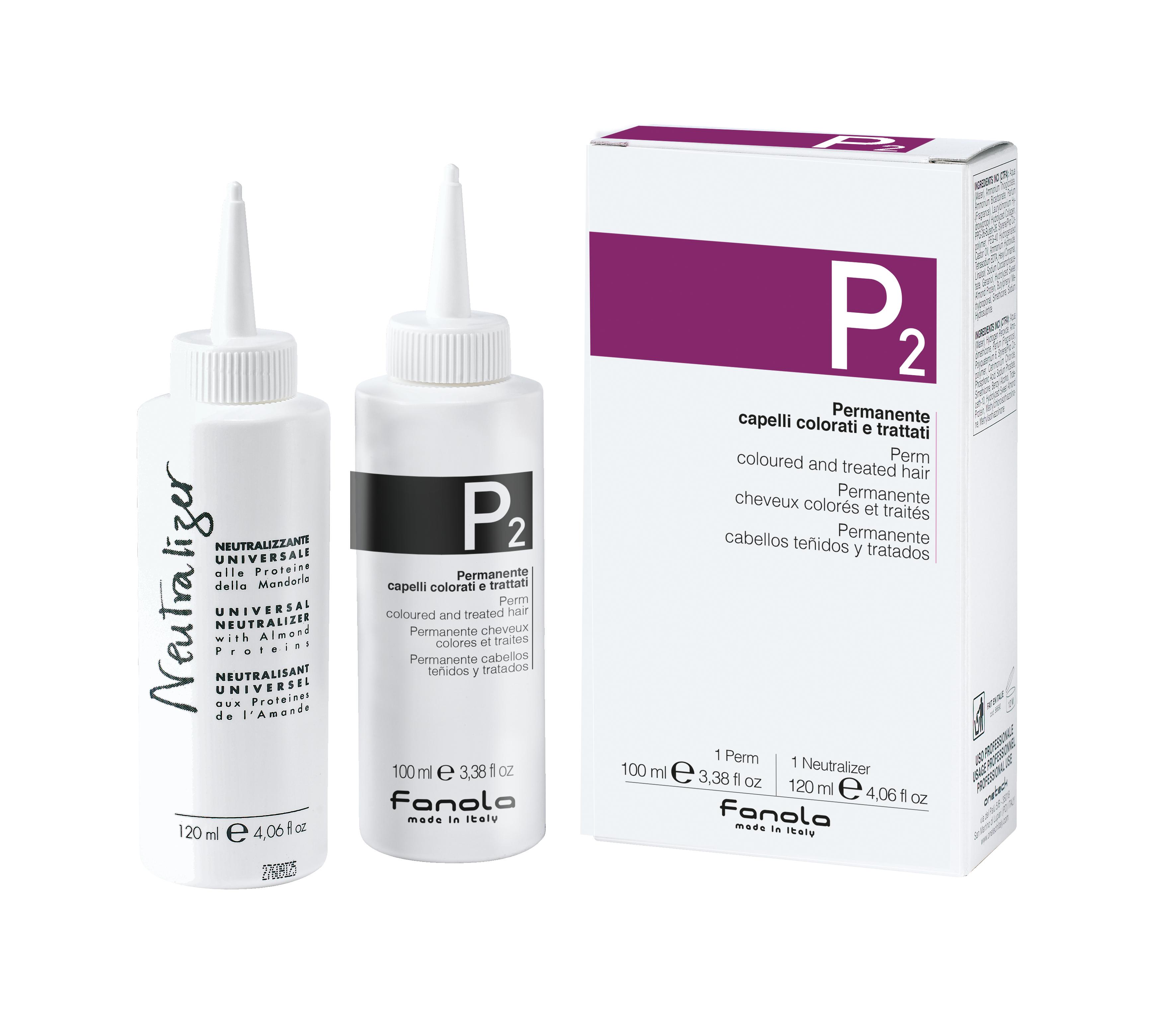 Fanola PERM P 2 Kit- trvalá ondulácia na farbené vlasy, 100 ml + neutralizér, 120 ml