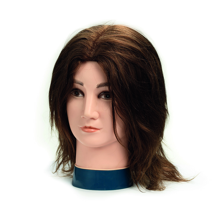 BraveHead 9864 Male - mužská cvičná hlava, 100% lidské vlasy
