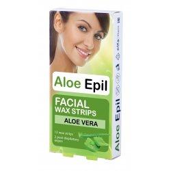 Aloe Epil Facial Wax strips - depilační voskové pásky na obličej, 12 + 2 ks