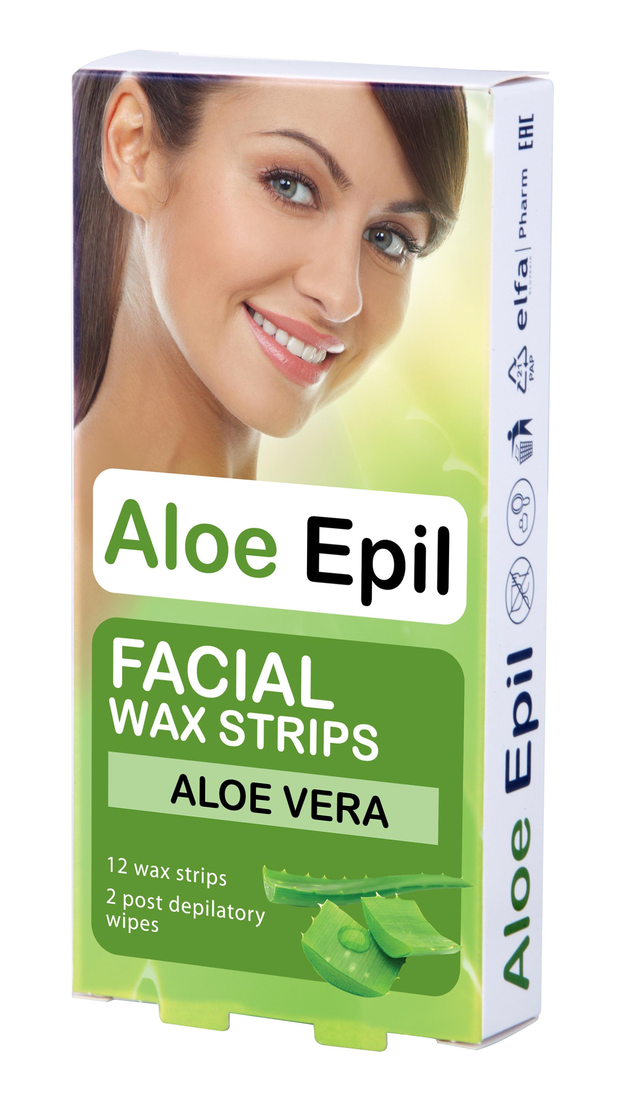 Aloe Epil Facial Wax strips - depilačné voskové pásiky na tvár, 12+2 ks