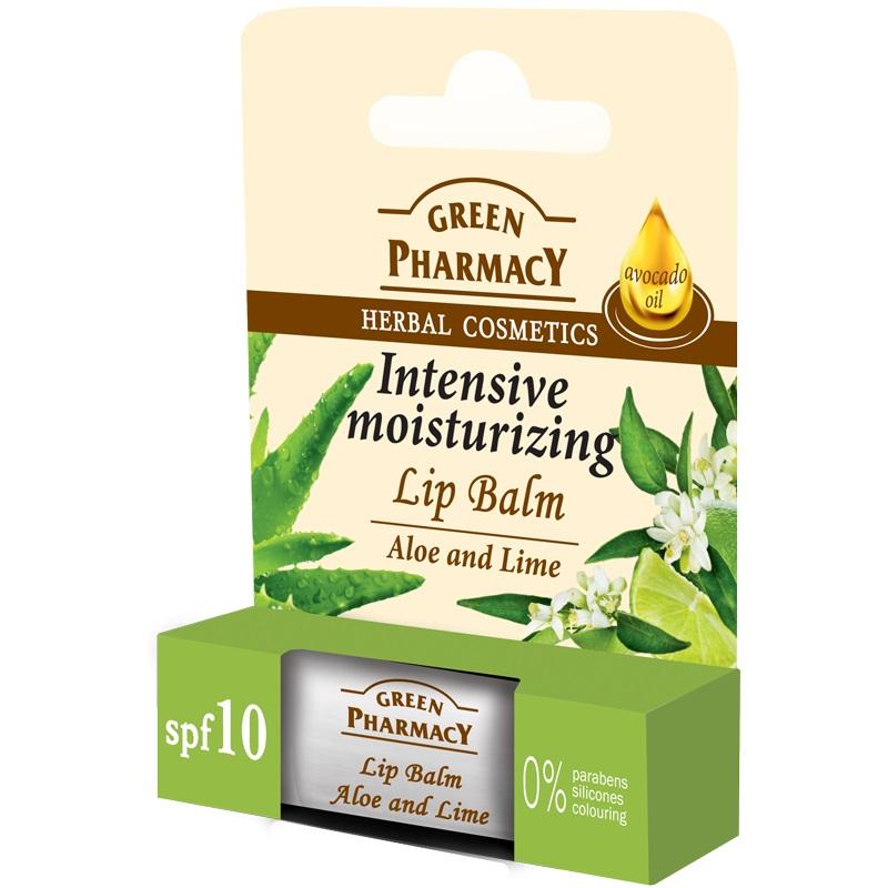 Green Pharmacy Aloe enad Lime - hydratační balzám na rty aloe a limetka, 3,6 g