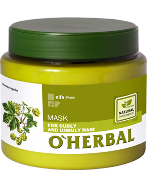 O'HERBAL For Curly and Unruly hair - maska pro kudrnaté, krepatějící a nepoddajné vlasy, 500 ml