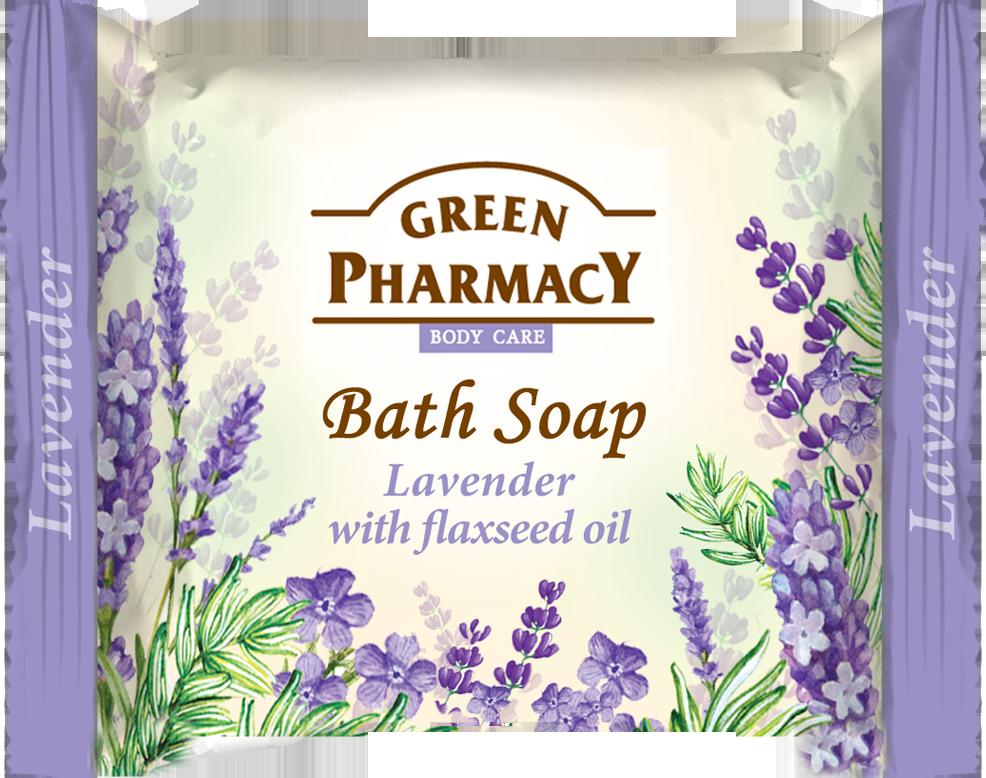 Green Pharmacy Levander with flaxseed oil - toaletní mýdlo s levandulí a lněným olejem, 100 g