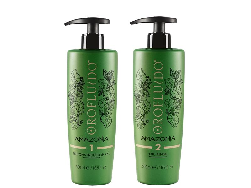 Orofluido Amazonia - krok 1+2 - olej pre hĺbkovú obnovu, 500 ml + oplachovací šampón na olejovej báze, 500 ml
