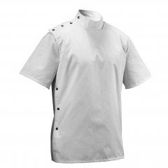 Barber Jacket - biela tradičná holičská košeľa z odolného materiálu