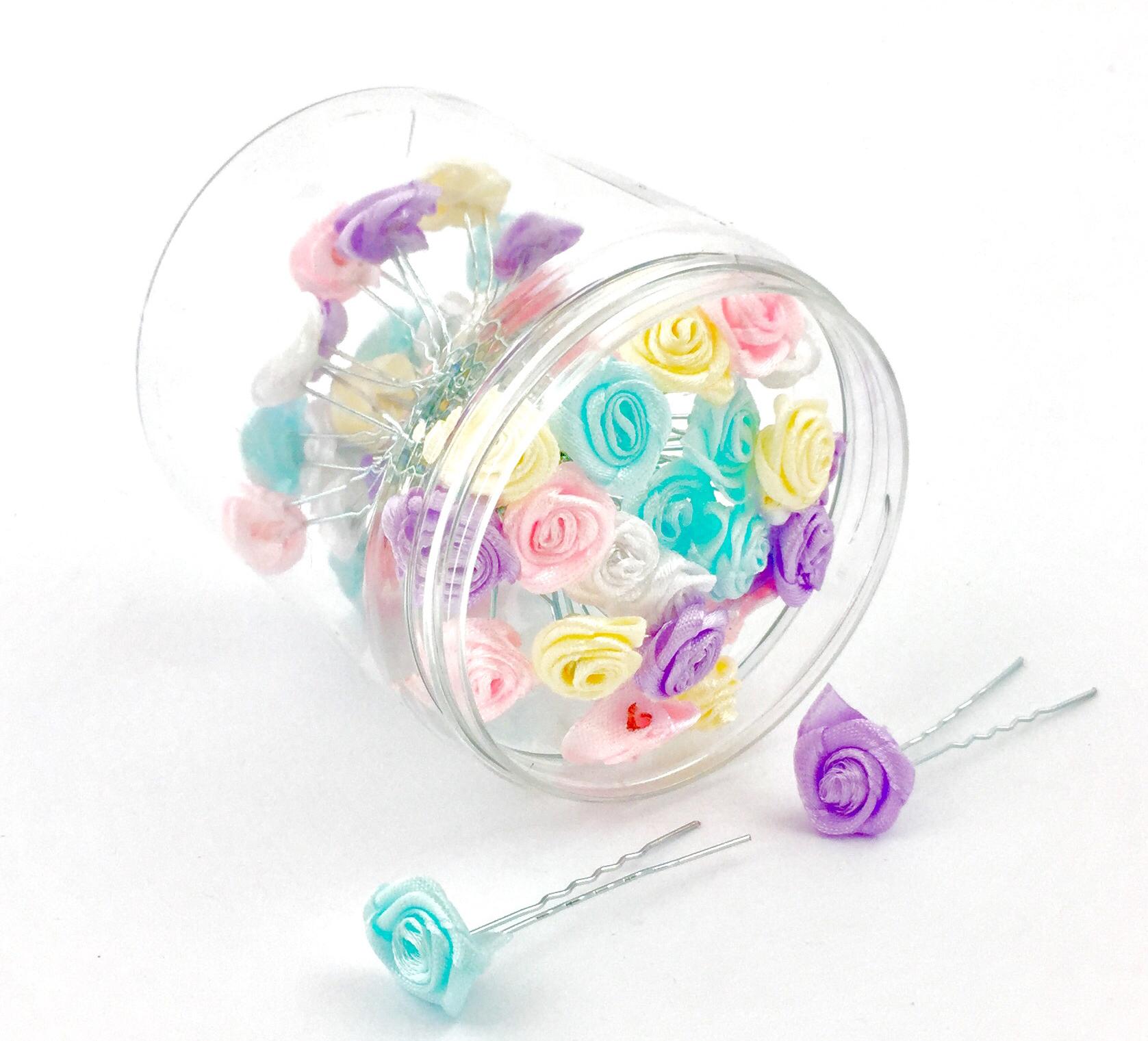 Ozdobné vlásenky do vlasov, s ružičkou - mix farieb, 1 ks