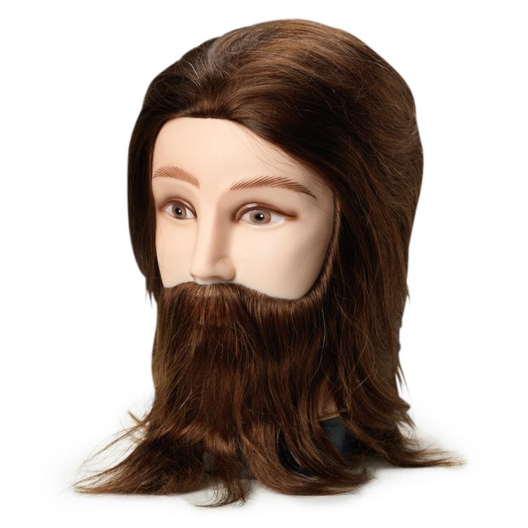 BraveHead 9862 Male w. beard - mužská cvičná hlava s bradou, 100% lidské vlasy