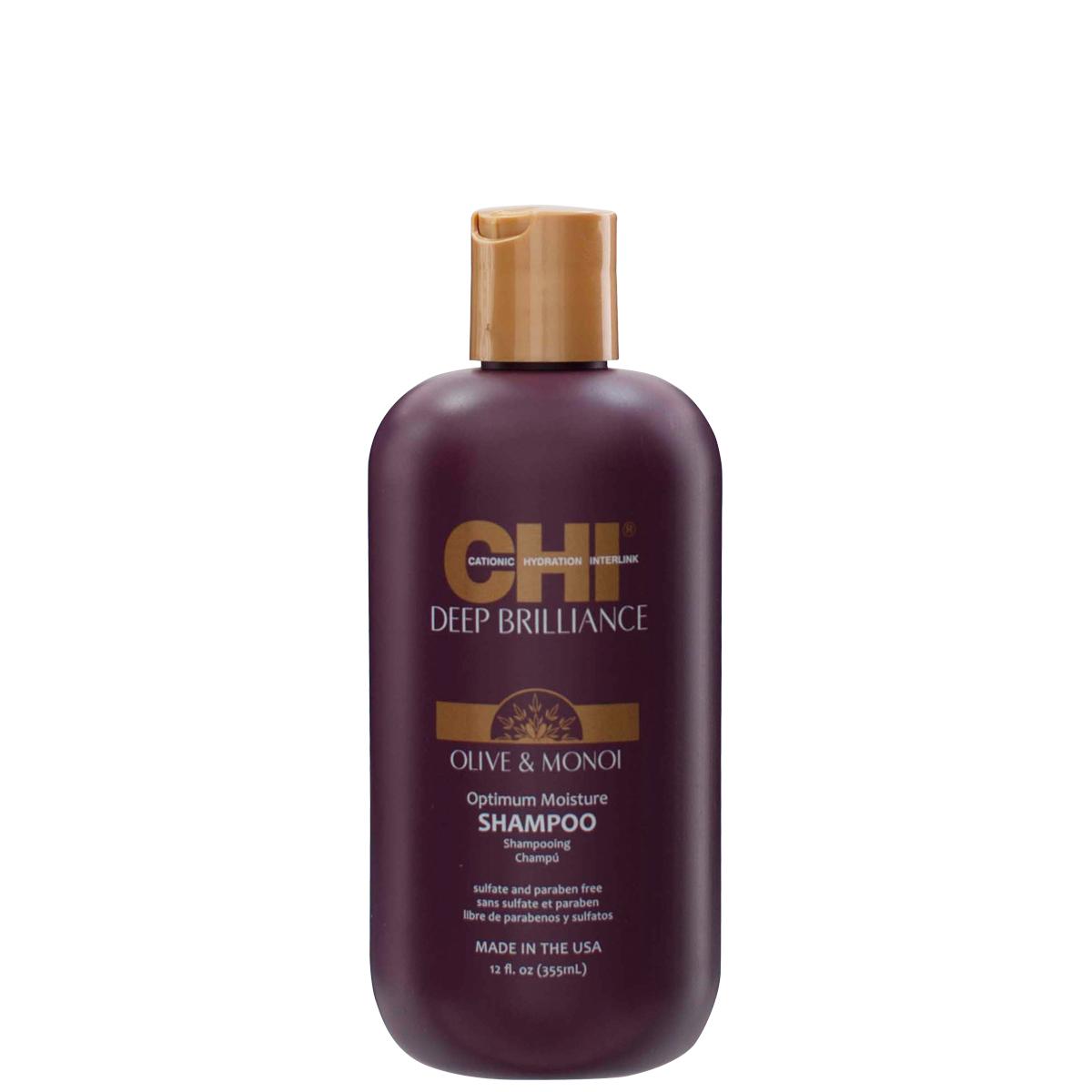 CHI Deep Brilliance Olive & Monoi Optimum Moisture Shampoo - optimálne hydratačný šampón, 355 ml