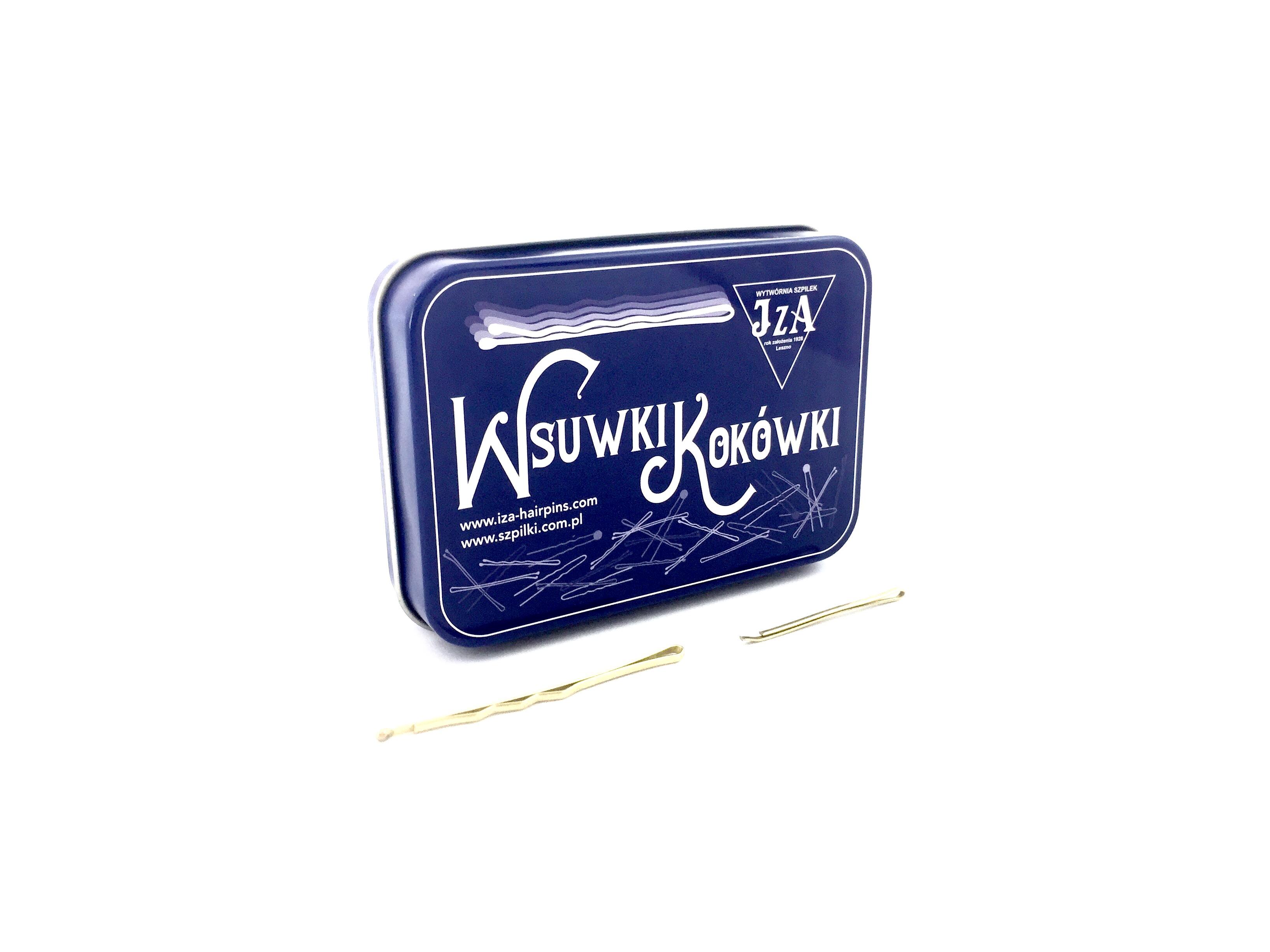 JZA P-024/0621 sponky do vlasov 20 ks profilované s guličkou, 6 cm + 20 ks hladké, 4 cm v  kovovej  krabičke, farba zlatá