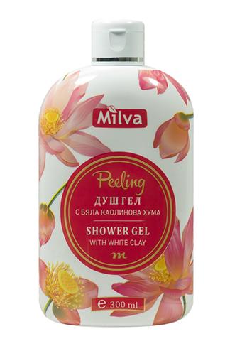 Milva Peeling - sprchový exfoliačný gél s bielym ílom, 300 ml
