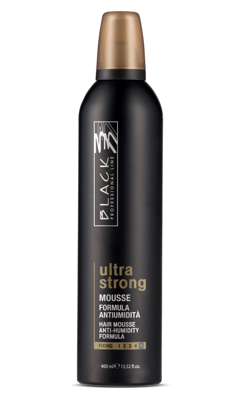 Black ultra strong Hair mousse, 400ml.