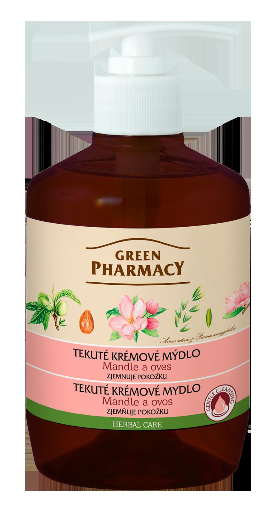 Green Pharmacy Mandle a Oves - tekuté krémové mýdlo zjemňující pokožku, 460 ml