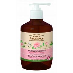 Green Pharmacy pižmová růže a bavlna - tekuté krémové mýdlo pro zachování mladé pokožky, 460 ml