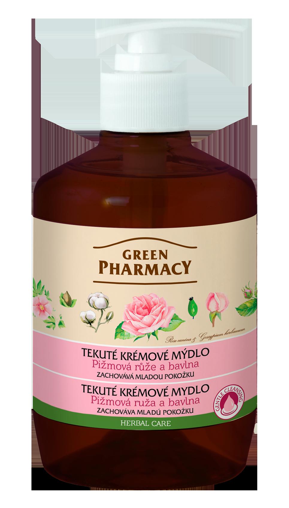 Green Pharmacy Pižmová ruža a bavlna - tekuté krémové mydlo pre zachovanie mladej pokožky, 460 ml
