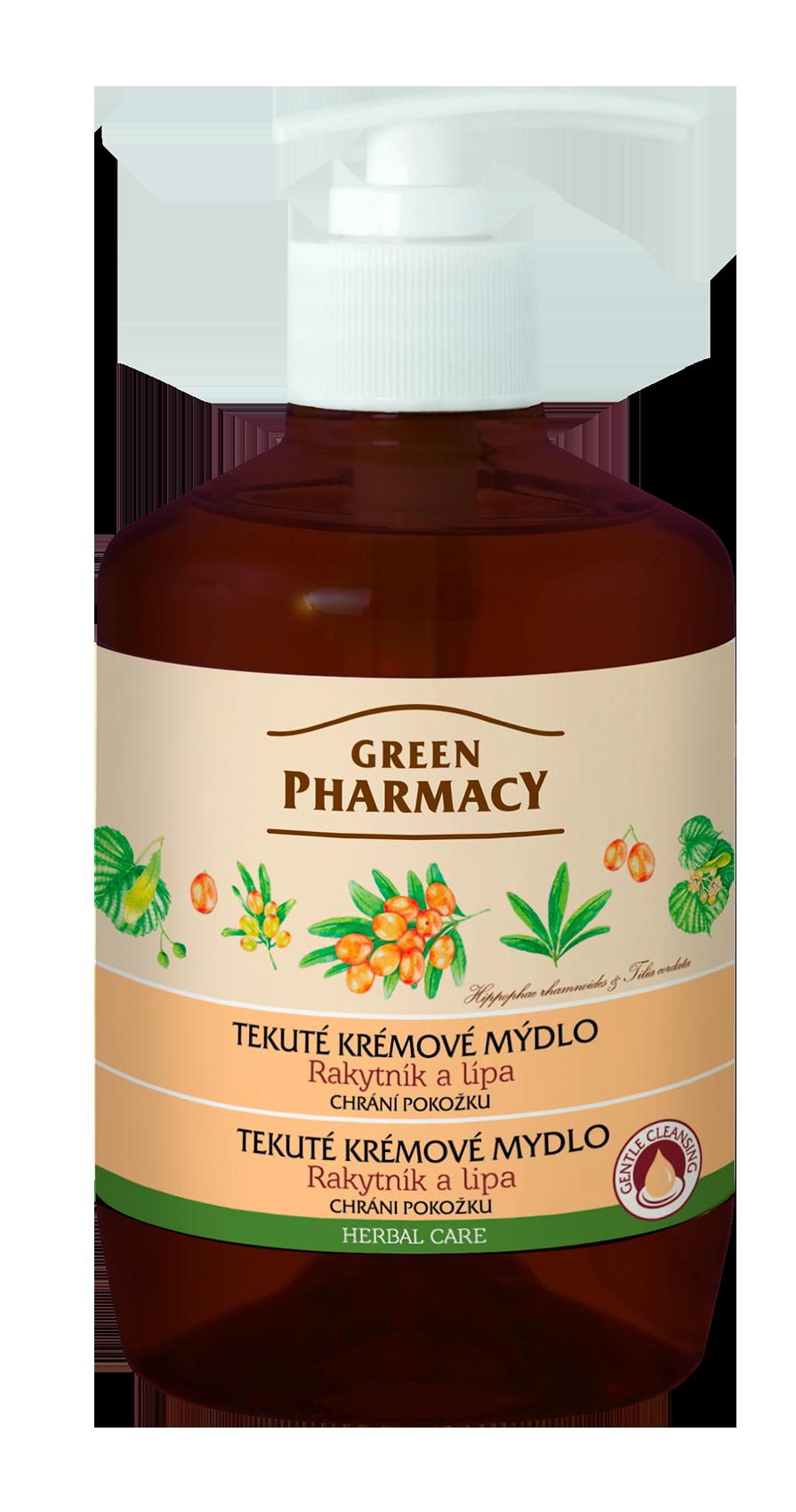 Green Pharmacy Rakytník a Lípa - tekuté krémové mýdlo chránící pokožku, 460 ml
