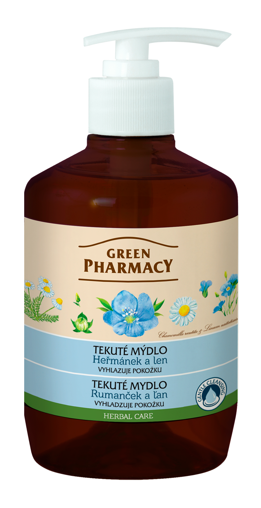 Green Pharmacy Rumanček a ľan - tekuté mydlo pre vyhladenie pokožky, 460 ml