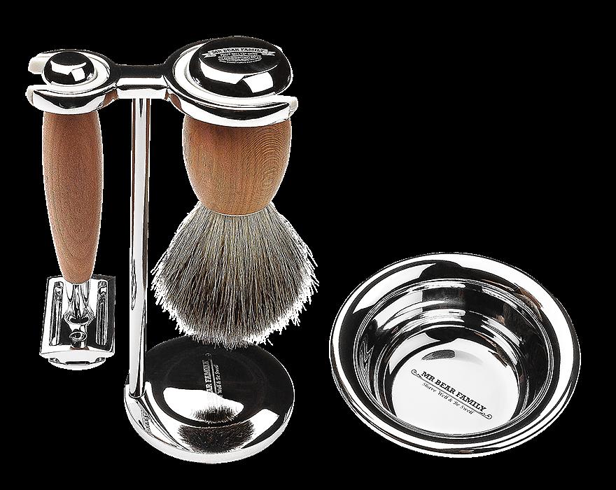 Mr. Bear Family Shaving Kit - sada na holenie - stojan, miska na holenie, štetka na holenie, strojček na holenie,  žiletky