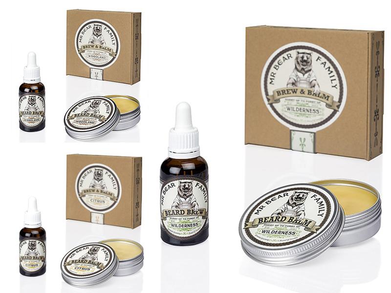 Mr. Bear Family Special Kit Brew and Balm - balzám na bradu, 60 ml + olej na bradu, 30 ml