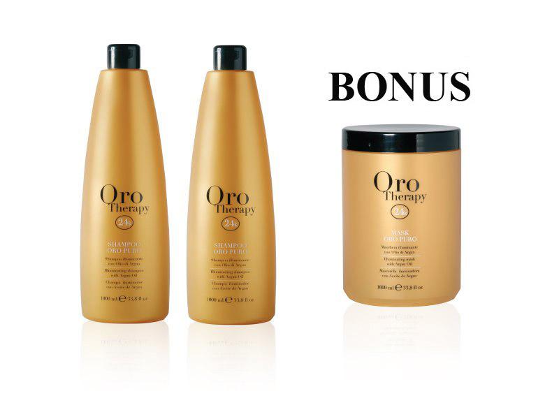 AKCIA: 2x Fanola Oro Therapy Argan Oil Shampoo - regeneračný šampón s argánovým olejom 1000 ml + Oro Puro maska 1000 ml