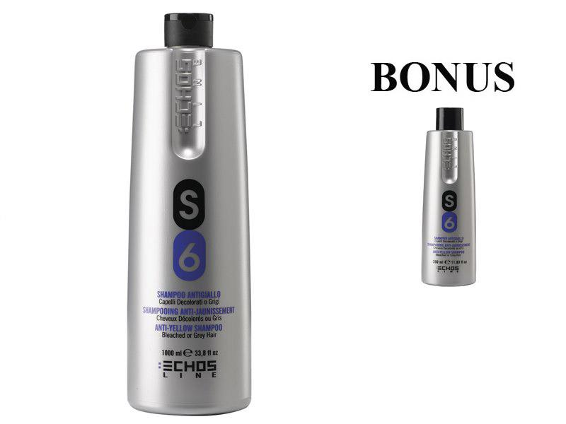 AKCIA: Echosline S6 - šampón proti žltnutiu vlasov, 1000 ml + šampón, 350 ml