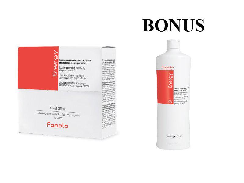 AKCIA: Fanola ENERGY - ampule proti vypadávaniu vlasov, 12x10 ml + šampón, 1000 ml
