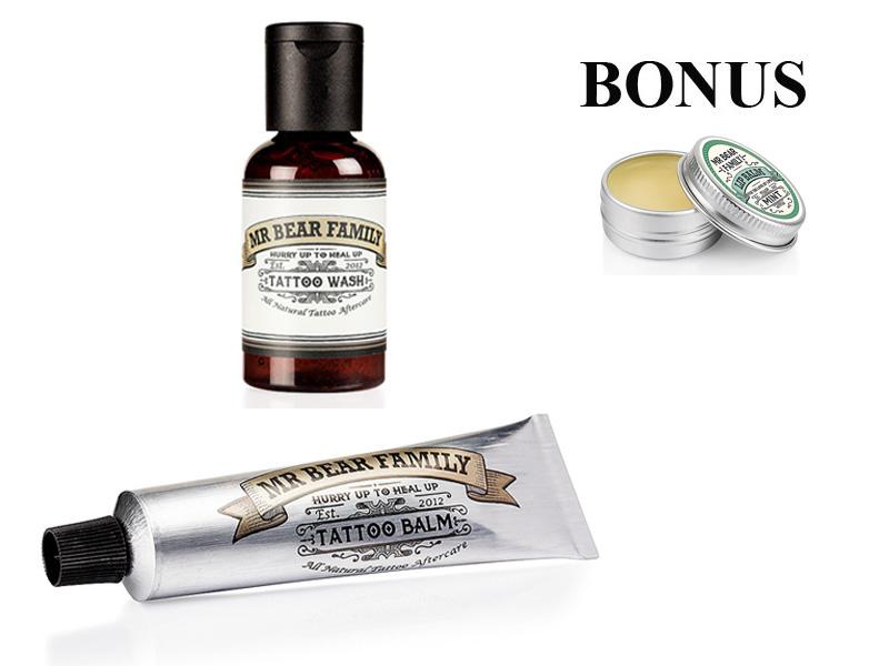AKCE: Mr. Bear Family Tattoo Wash and Balm - šampon, 50 ml + balzám na tetování, 30 ml + dárek balzám na rty, máta