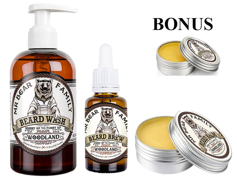 AKCIA: Mr. Bear Family Woodland  - šampón na bradu, 250 ml + olej na bradu,30 ml + balzám na bradu, 60 ml + darček vosk na fúzy ( Moustache Wax), 30 ml